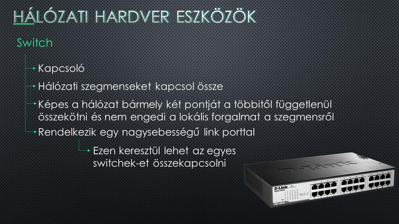 Switch működése Switch Laptop PC Szerver Printer Internet