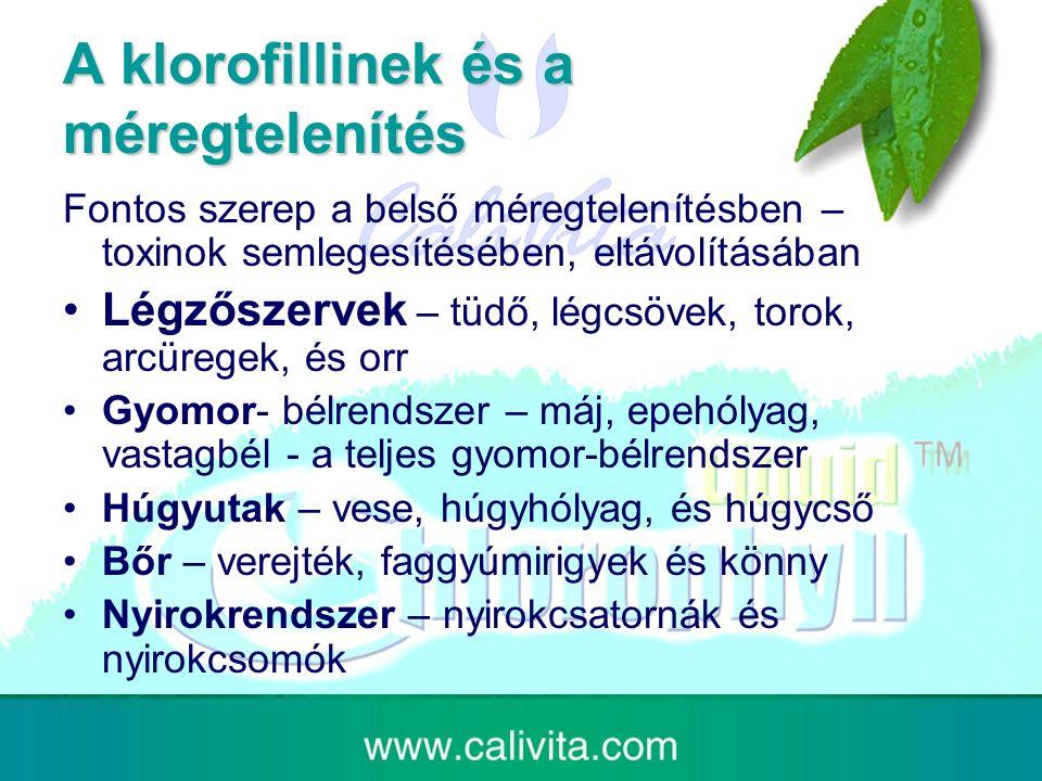 A klorofillinek és a méregtelenítés Fontos szerep a belső méregtelenítésben – toxinok semlegesítésében, eltávolításában Légzőszervek – tüdő, légcsövek, torok, arcüregek, és orr Gyomor- bélrendszer – máj, epehólyag, vastagbél - a teljes gyomor-bélrendszer Húgyutak – vese, húgyhólyag, és húgycső Bőr – verejték, faggyúmirigyek és könny Nyirokrendszer – nyirokcsatornák és nyirokcsomók