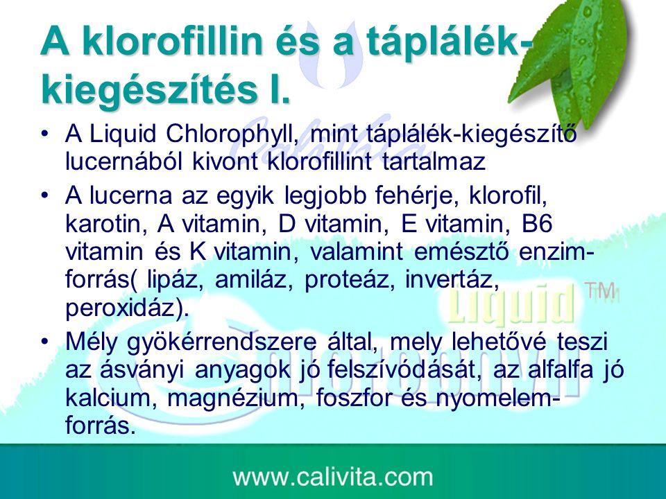 A klorofillin és a táplálék- kiegészítés I.