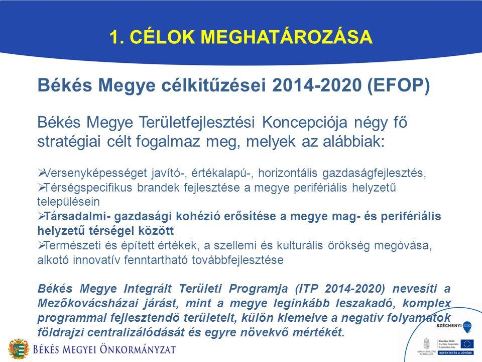 1. CÉLOK MEGHATÁROZÁSA Békés Megye célkitűzései 2014-2020 (EFOP) Békés Megye Területfejlesztési Koncepciója négy fő stratégiai célt fogalmaz meg, mely