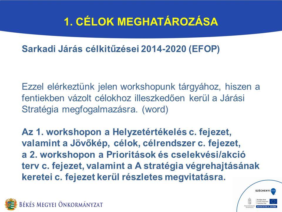1. CÉLOK MEGHATÁROZÁSA Sarkadi Járás célkitűzései 2014-2020 (EFOP) Ezzel elérkeztünk jelen workshopunk tárgyához, hiszen a fentiekben vázolt célokhoz
