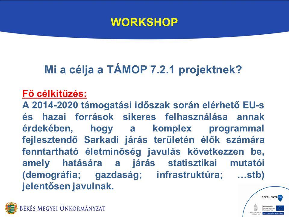 WORKSHOP Mi a célja a TÁMOP 7.2.1 projektnek.