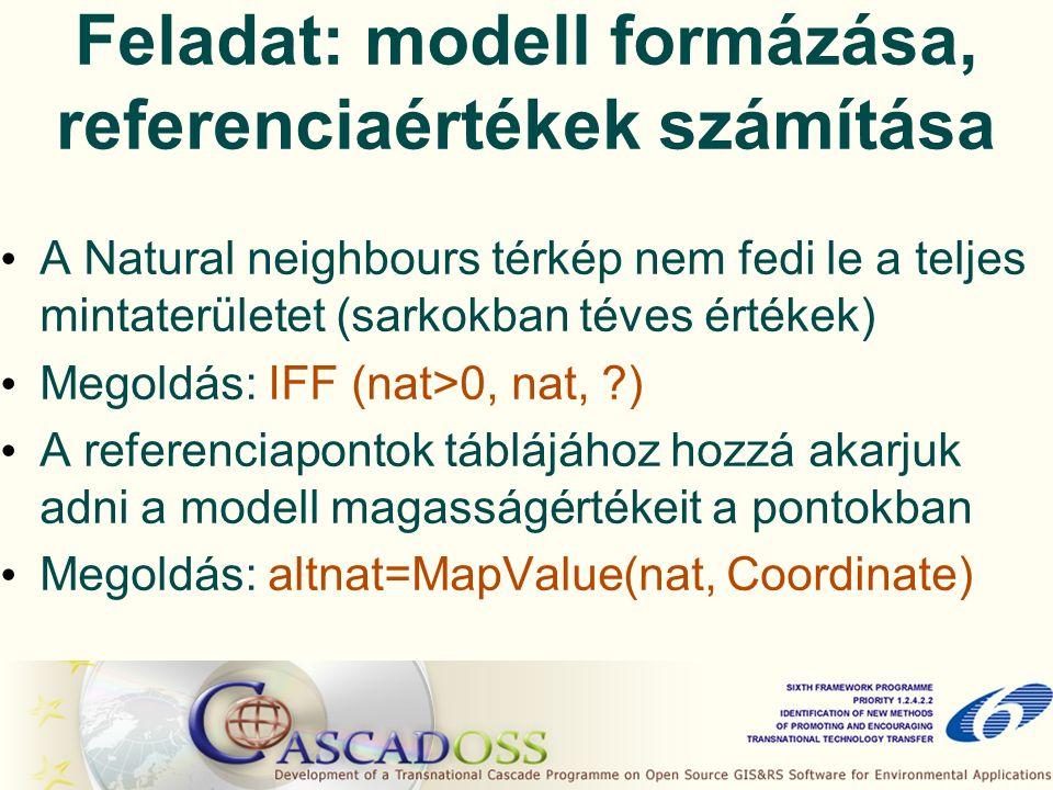 Feladat: modell formázása, referenciaértékek számítása A Natural neighbours térkép nem fedi le a teljes mintaterületet (sarkokban téves értékek) Megoldás: IFF (nat>0, nat, ) A referenciapontok táblájához hozzá akarjuk adni a modell magasságértékeit a pontokban Megoldás: altnat=MapValue(nat, Coordinate)