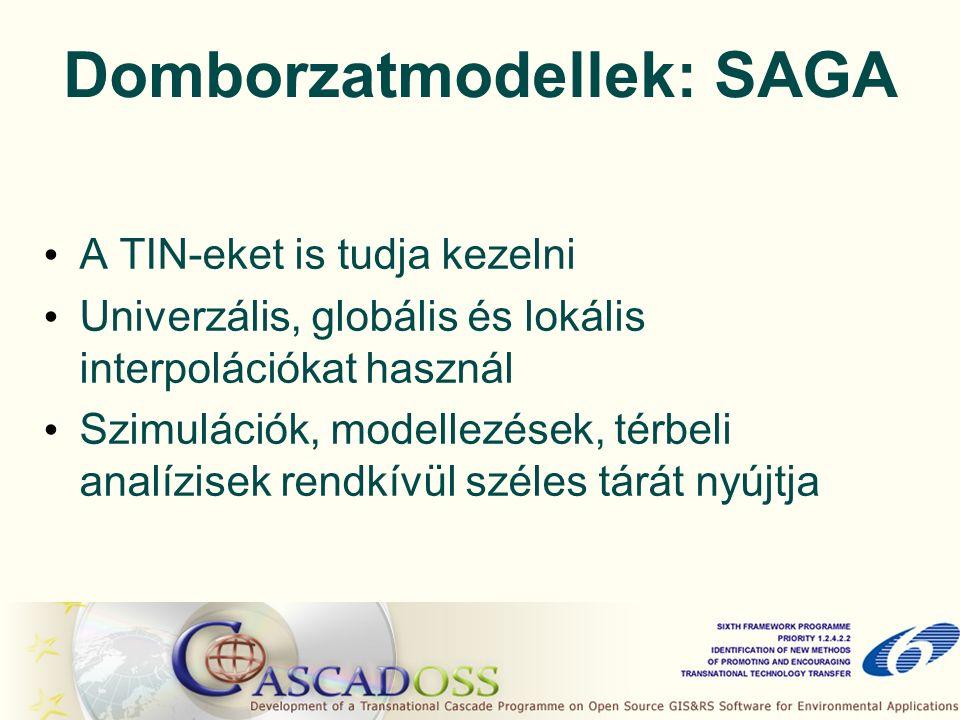 Domborzatmodellek: SAGA A TIN-eket is tudja kezelni Univerzális, globális és lokális interpolációkat használ Szimulációk, modellezések, térbeli analízisek rendkívül széles tárát nyújtja