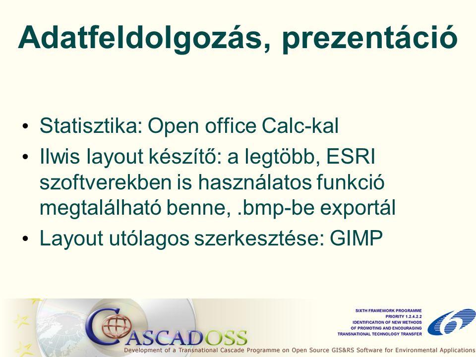 Adatfeldolgozás, prezentáció Statisztika: Open office Calc-kal Ilwis layout készítő: a legtöbb, ESRI szoftverekben is használatos funkció megtalálható benne,.bmp-be exportál Layout utólagos szerkesztése: GIMP