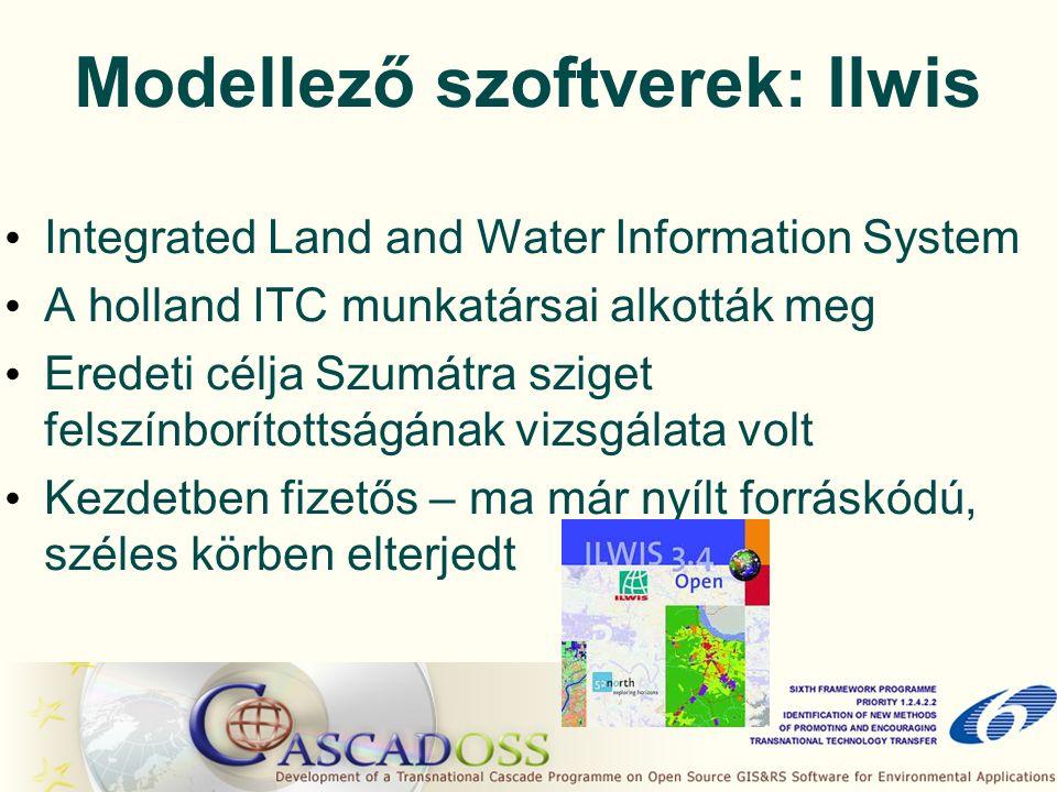 Modellező szoftverek: Ilwis Integrated Land and Water Information System A holland ITC munkatársai alkották meg Eredeti célja Szumátra sziget felszínborítottságának vizsgálata volt Kezdetben fizetős – ma már nyílt forráskódú, széles körben elterjedt