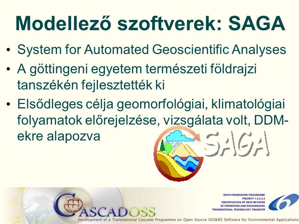 Modellező szoftverek: SAGA System for Automated Geoscientific Analyses A göttingeni egyetem természeti földrajzi tanszékén fejlesztették ki Elsődleges célja geomorfológiai, klimatológiai folyamatok előrejelzése, vizsgálata volt, DDM- ekre alapozva
