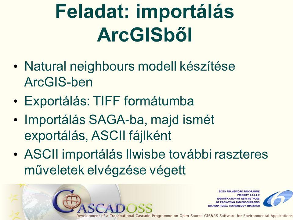 Feladat: importálás ArcGISből Natural neighbours modell készítése ArcGIS-ben Exportálás: TIFF formátumba Importálás SAGA-ba, majd ismét exportálás, ASCII fájlként ASCII importálás Ilwisbe további raszteres műveletek elvégzése végett