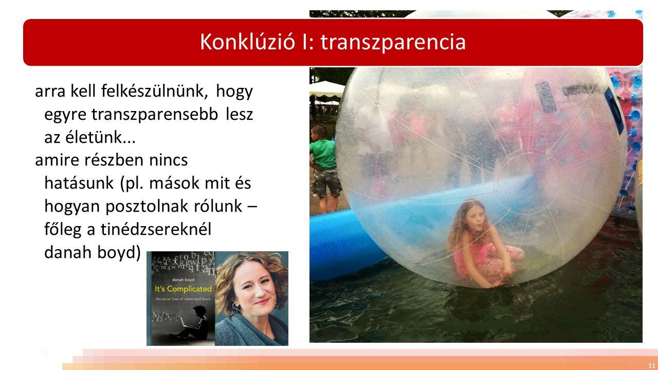 Konklúzió I: transzparencia 11 arra kell felkészülnünk, hogy egyre transzparensebb lesz az életünk...