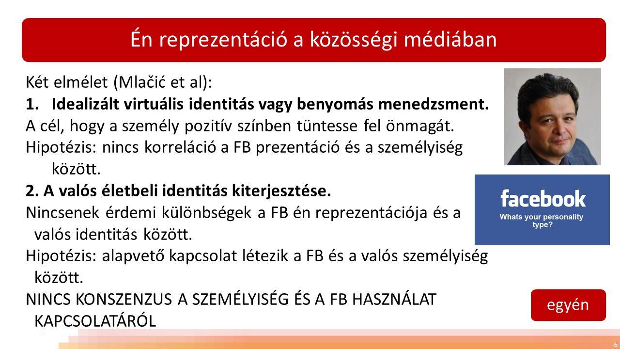 Én reprezentáció a közösségi médiában 6 Két elmélet (Mlačić et al): 1.Idealizált virtuális identitás vagy benyomás menedzsment.