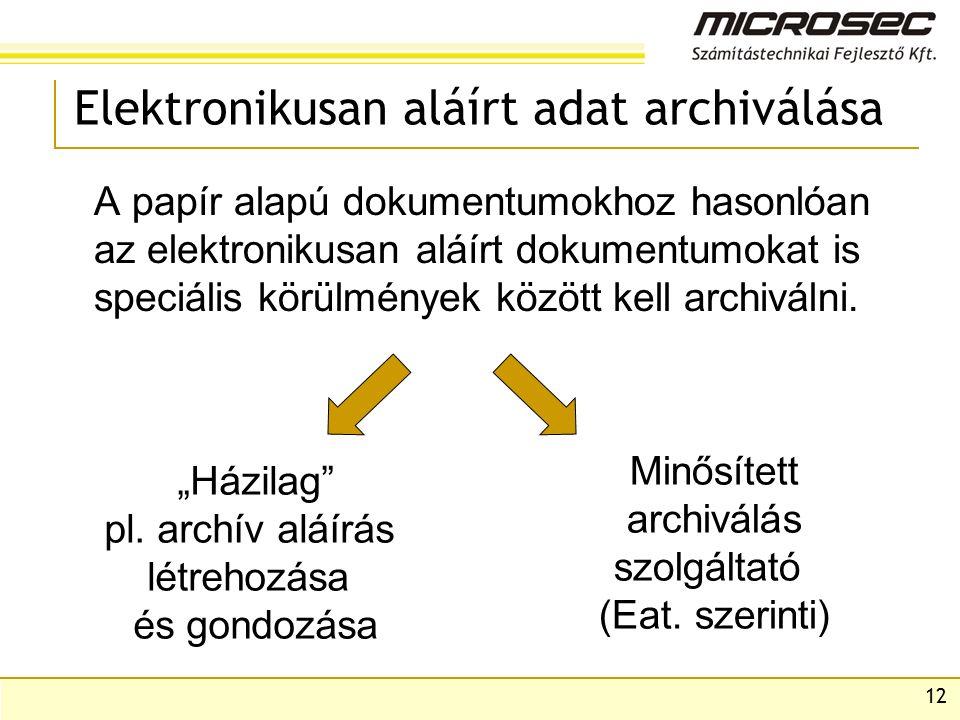 12 Elektronikusan aláírt adat archiválása A papír alapú dokumentumokhoz hasonlóan az elektronikusan aláírt dokumentumokat is speciális körülmények között kell archiválni.