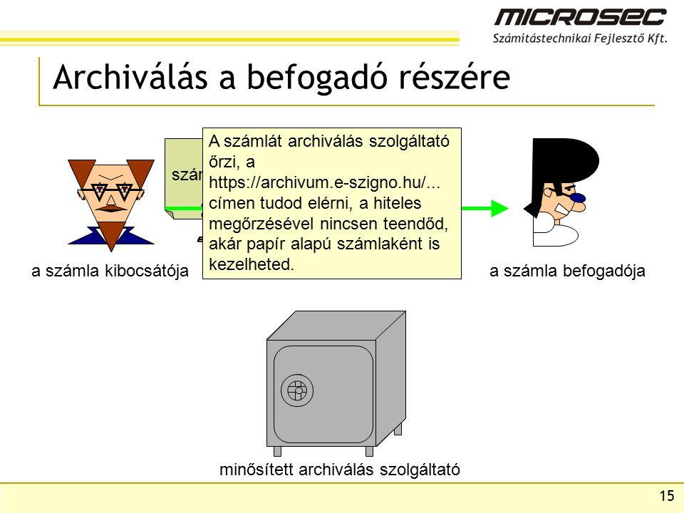 15 Archiválás a befogadó részére a számla kibocsátójaa számla befogadója minősített archiválás szolgáltató számla A számlát archiválás szolgáltató őrzi, a https://archivum.e-szigno.hu/...