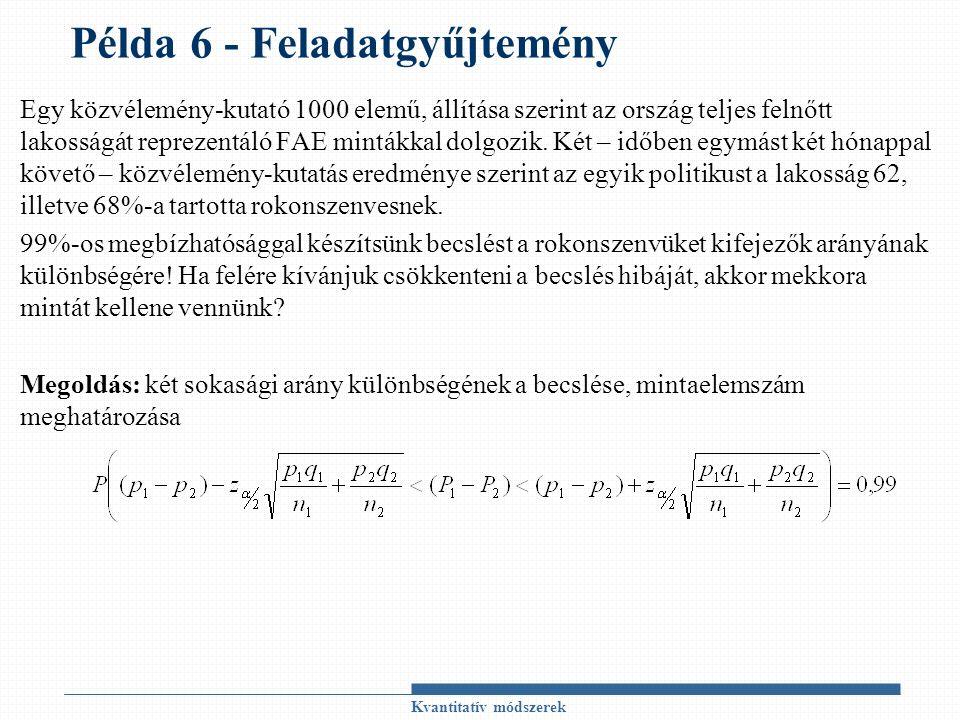 Példa 6 - Feladatgyűjtemény Egy közvélemény-kutató 1000 elemű, állítása szerint az ország teljes felnőtt lakosságát reprezentáló FAE mintákkal dolgozi