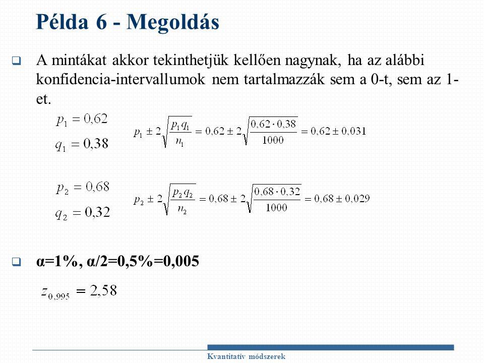 Példa 6 - Megoldás  A mintákat akkor tekinthetjük kellően nagynak, ha az alábbi konfidencia-intervallumok nem tartalmazzák sem a 0-t, sem az 1- et. 