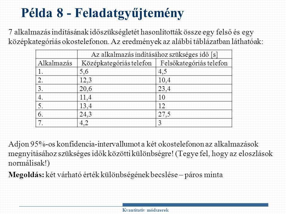 Példa 8 - Feladatgyűjtemény 7 alkalmazás indításának időszükségletét hasonlították össze egy felső és egy középkategóriás okostelefonon. Az eredmények