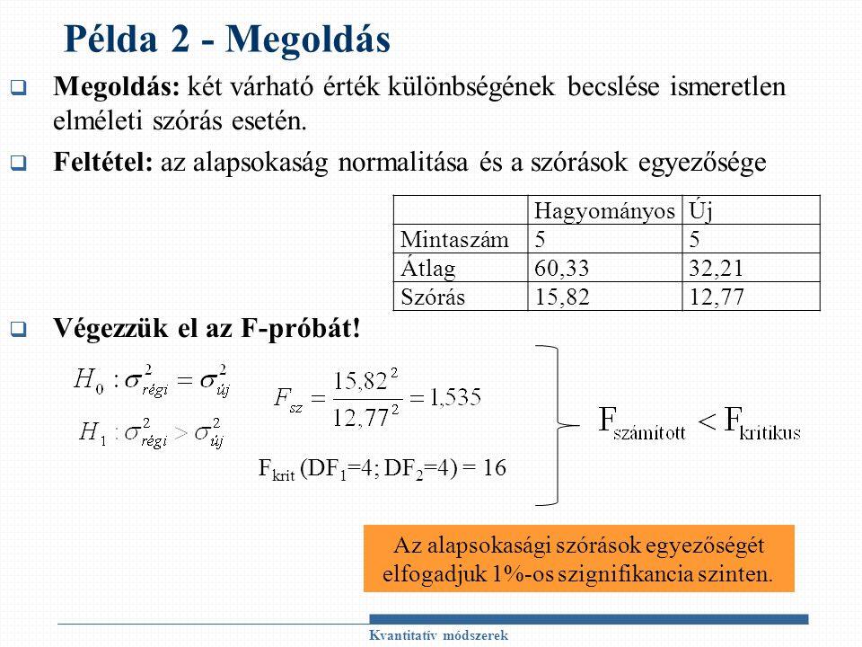 Példa 2 - Megoldás  Megoldás: két várható érték különbségének becslése ismeretlen elméleti szórás esetén.  Feltétel: az alapsokaság normalitása és a