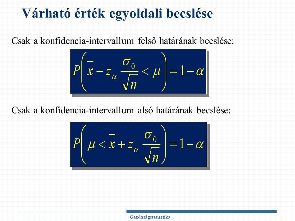 Várható érték egyoldali becslése Gazdaságstatisztika Csak a konfidencia-intervallum felső határának becslése: Csak a konfidencia-intervallum alsó határának becslése: