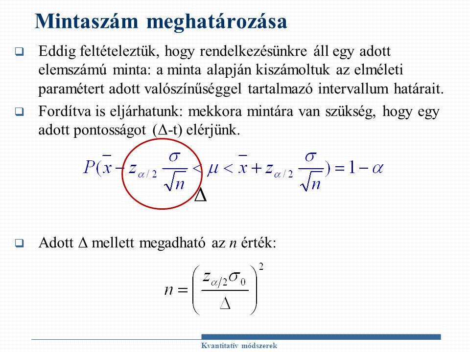 Mintaszám meghatározása  Eddig feltételeztük, hogy rendelkezésünkre áll egy adott elemszámú minta: a minta alapján kiszámoltuk az elméleti paramétert adott valószínűséggel tartalmazó intervallum határait.
