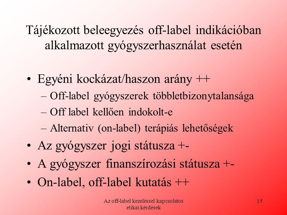 Az off-label kezeléssel kapcsolatos etikai kérdések 15 Tájékozott beleegyezés off-label indikációban alkalmazott gyógyszerhasználat esetén Egyéni kock