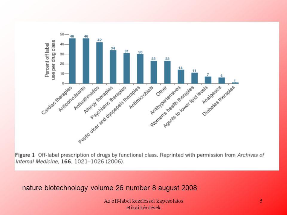 Az off-label kezeléssel kapcsolatos etikai kérdések 5 nature biotechnology volume 26 number 8 august 2008