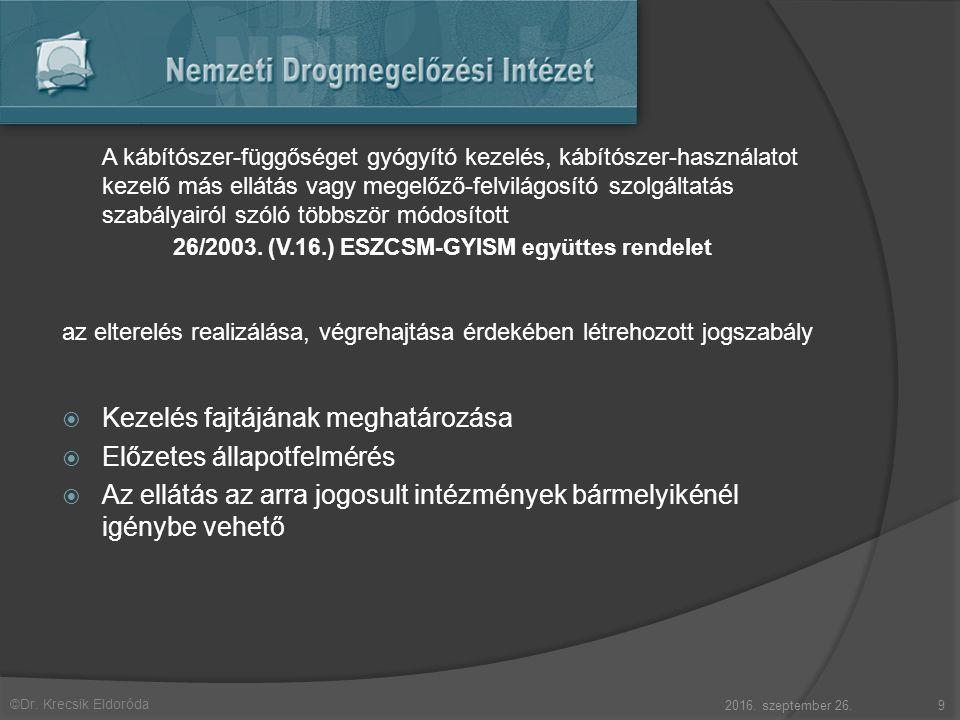 ©Dr. Krecsik Eldoróda A kábítószer-függőséget gyógyító kezelés, kábítószer-használatot kezelő más ellátás vagy megelőző-felvilágosító szolgáltatás sza