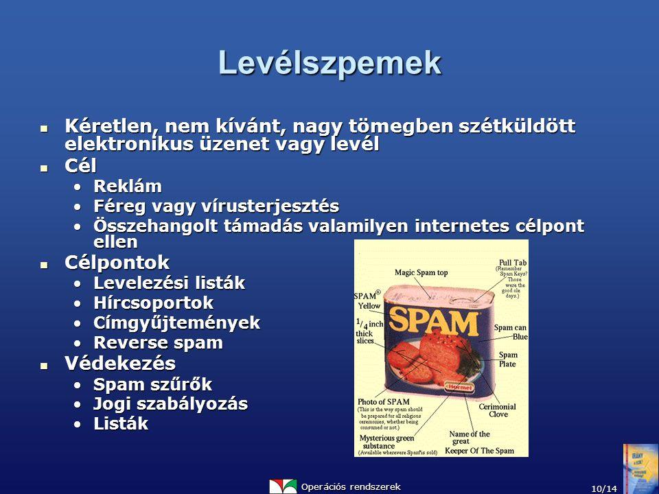 Operációs rendszerek 10/14 Levélszpemek Kéretlen, nem kívánt, nagy tömegben szétküldött elektronikus üzenet vagy levél Kéretlen, nem kívánt, nagy töme