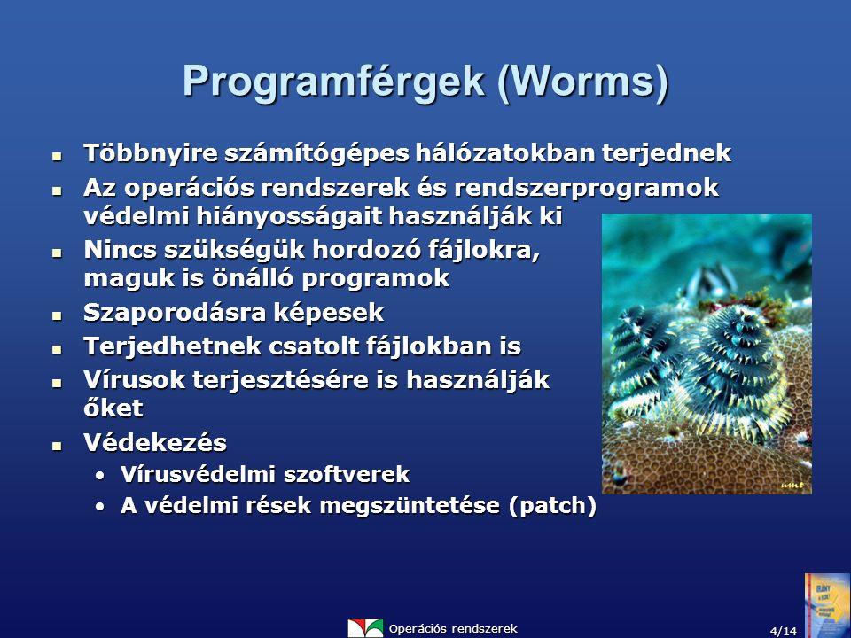 Operációs rendszerek 4/14 Programférgek (Worms) Többnyire számítógépes hálózatokban terjednek Többnyire számítógépes hálózatokban terjednek Az operációs rendszerek és rendszerprogramok védelmi hiányosságait használják ki Az operációs rendszerek és rendszerprogramok védelmi hiányosságait használják ki Nincs szükségük hordozó fájlokra, maguk is önálló programok Nincs szükségük hordozó fájlokra, maguk is önálló programok Szaporodásra képesek Szaporodásra képesek Terjedhetnek csatolt fájlokban is Terjedhetnek csatolt fájlokban is Vírusok terjesztésére is használják őket Vírusok terjesztésére is használják őket Védekezés Védekezés Vírusvédelmi szoftverekVírusvédelmi szoftverek A védelmi rések megszüntetése (patch)A védelmi rések megszüntetése (patch)