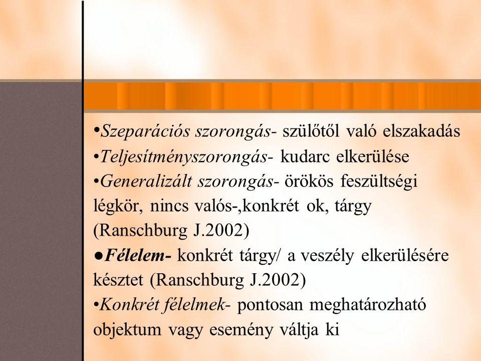 Szeparációs szorongás- szülőtől való elszakadás Teljesítményszorongás- kudarc elkerülése Generalizált szorongás- örökös feszültségi légkör, nincs valós-,konkrét ok, tárgy (Ranschburg J.2002) ●Félelem- konkrét tárgy/ a veszély elkerülésére késztet (Ranschburg J.2002) Konkrét félelmek- pontosan meghatározható objektum vagy esemény váltja ki