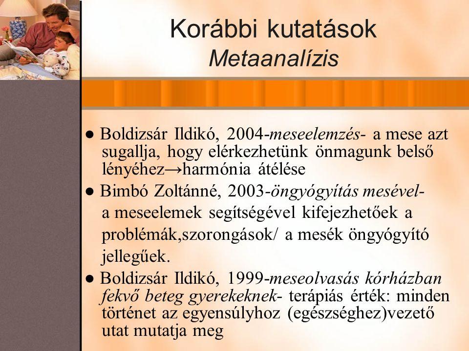 Korábbi kutatások Metaanalízis ● Boldizsár Ildikó, 2004-meseelemzés- a mese azt sugallja, hogy elérkezhetünk önmagunk belső lényéhez→harmónia átélése