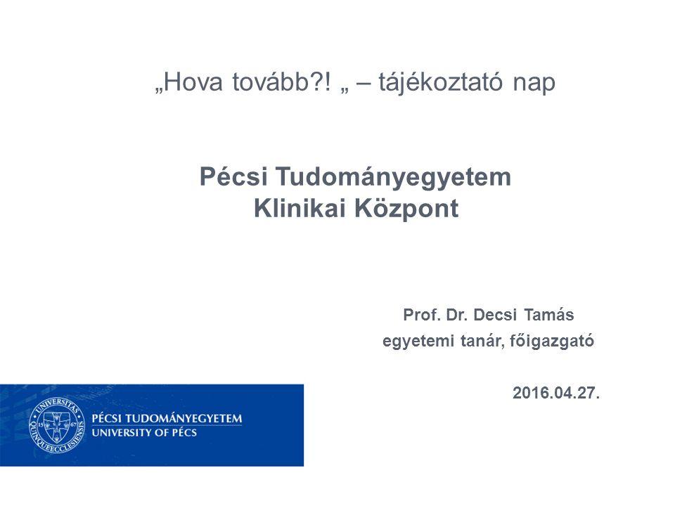 Pécsi Tudományegyetem Klinikai Központ bemutatása A Pécsi Tudományegyetem egészségügyi szolgáltatója Térségi Központ Gyógyító-megelőző feladatok Graduális, posztgraduális oktatás Kutatómunka