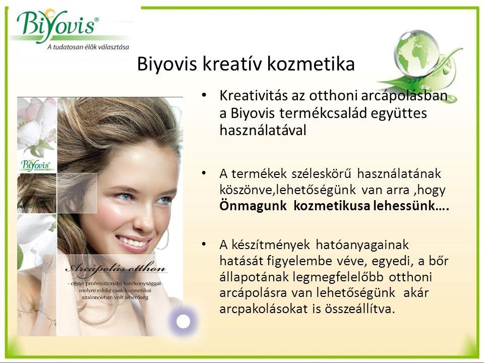 Biyovis kreatív kozmetika Kreativitás az otthoni arcápolásban a Biyovis termékcsalád együttes használatával A termékek széleskörű használatának köszönve,lehetőségünk van arra,hogy Önmagunk kozmetikusa lehessünk….