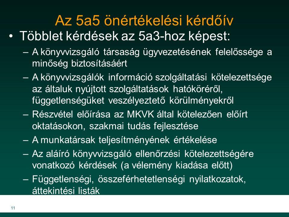 Az 5a5 önértékelési kérdőív Többlet kérdések az 5a3-hoz képest: –A könyvvizsgáló társaság ügyvezetésének felelőssége a minőség biztosításáért –A könyvvizsgálók információ szolgáltatási kötelezettsége az általuk nyújtott szolgáltatások hatóköréről, függetlenségüket veszélyeztető körülményekről –Részvétel előírása az MKVK által kötelezően előírt oktatásokon, szakmai tudás fejlesztése –A munkatársak teljesítményének értékelése –Az aláíró könyvvizsgáló ellenőrzési kötelezettségére vonatkozó kérdések (a vélemény kiadása előtt) –Függetlenségi, összeférhetetlenségi nyilatkozatok, áttekintési listák 11