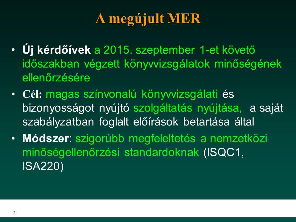 2 A megújult MER Új kérdőívek a 2015. szeptember 1-et követő időszakban végzett könyvvizsgálatok minőségének ellenőrzésére Cél: magas színvonalú könyv