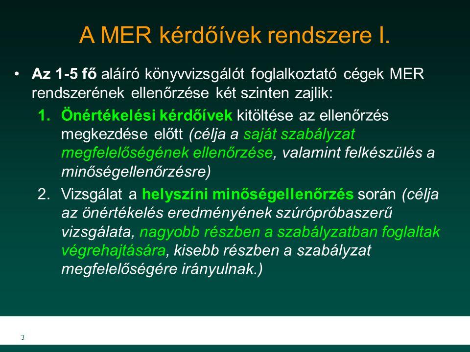 A MER kérdőívek rendszere I. Az 1-5 fő aláíró könyvvizsgálót foglalkoztató cégek MER rendszerének ellenőrzése két szinten zajlik: 1.Önértékelési kérdő