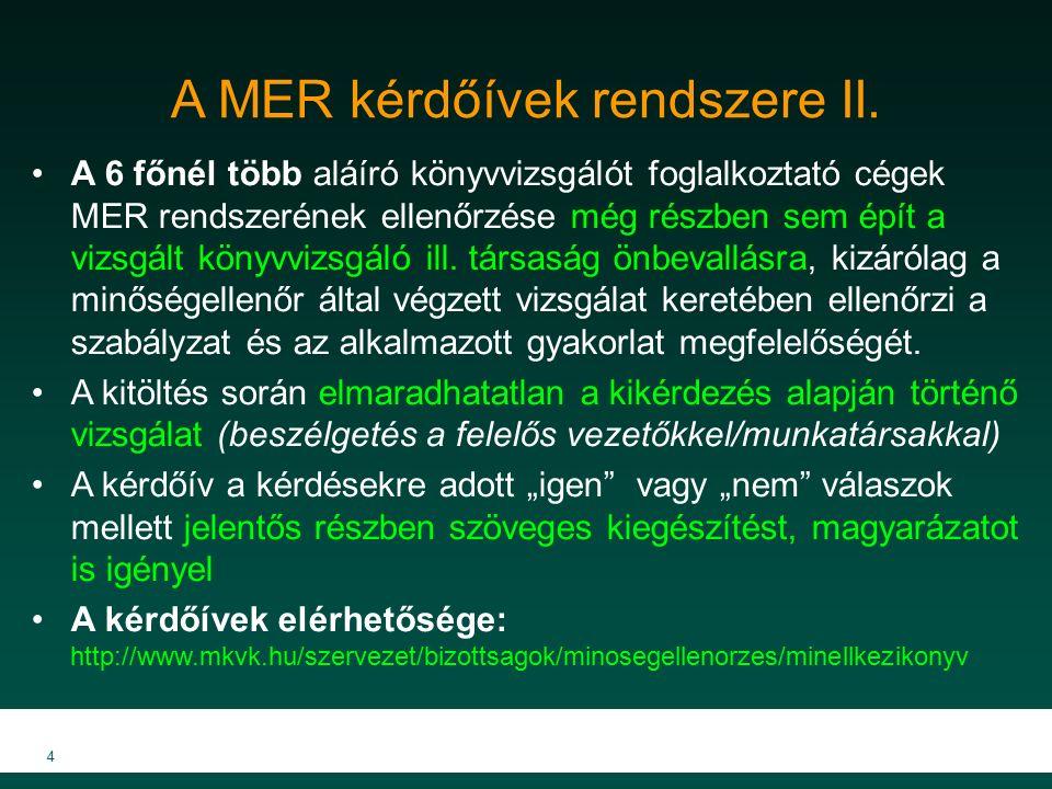A MER kérdőívek rendszere II.