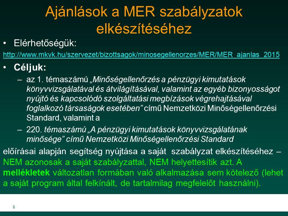 Ajánlások a MER szabályzatok elkészítéséhez Elérhetőségük: http://www.mkvk.hu/szervezet/bizottsagok/minosegellenorzes/MER/MER_ajanlas_2015 Céljuk: –az