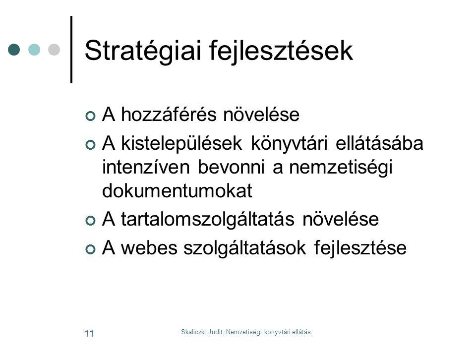 Skaliczki Judit: Nemzetiségi könyvtári ellátás 11 Stratégiai fejlesztések A hozzáférés növelése A kistelepülések könyvtári ellátásába intenzíven bevonni a nemzetiségi dokumentumokat A tartalomszolgáltatás növelése A webes szolgáltatások fejlesztése
