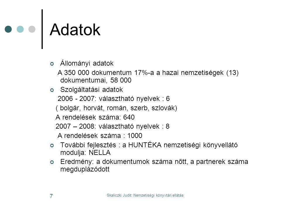 Skaliczki Judit: Nemzetiségi könyvtári ellátás 7 Adatok Állományi adatok A 350 000 dokumentum 17%-a a hazai nemzetiségek (13) dokumentumai, 58 000 Szolgáltatási adatok 2006 - 2007: választható nyelvek : 6 ( bolgár, horvát, román, szerb, szlovák) A rendelések száma: 640 2007 – 2008: választható nyelvek : 8 A rendelések száma : 1000 További fejlesztés : a HUNTÉKA nemzetiségi könyvellátó modulja: NELLA Eredmény: a dokumentumok száma nőtt, a partnerek száma megduplázódott