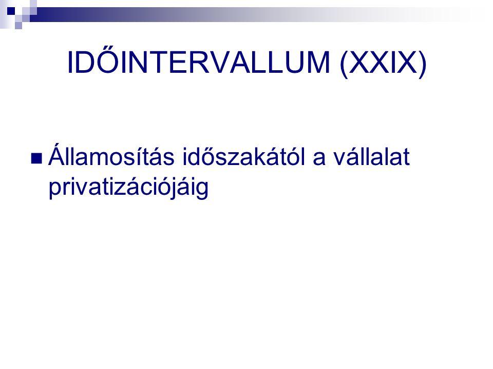 IDŐINTERVALLUM (XXIX) Államosítás időszakától a vállalat privatizációjáig