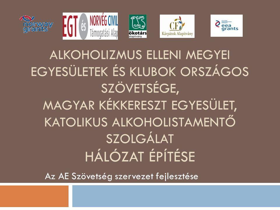 ALKOHOLIZMUS ELLENI MEGYEI EGYESÜLETEK ÉS KLUBOK ORSZÁGOS SZÖVETSÉGE, MAGYAR KÉKKERESZT EGYESÜLET, KATOLIKUS ALKOHOLISTAMENTŐ SZOLGÁLAT HÁLÓZAT ÉPÍTÉSE Az AE Szövetség szervezet fejlesztése