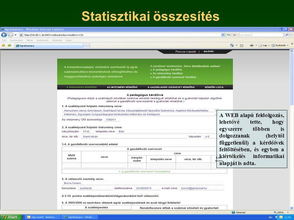 Statisztikai összesítés A WEB alapú feldolgozás, lehetővé tette, hogy egyszerre többen is dolgozzanak (helytől függetlenül) a kérdőívek feltöltésében, és egyben a kiértékelés informatikai alapját is adta.