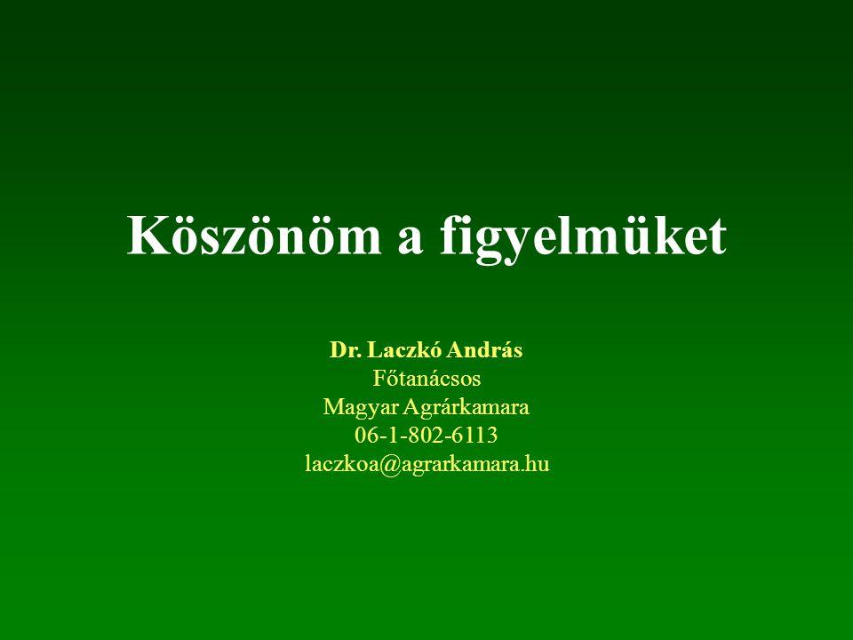 Köszönöm a figyelmüket Dr. Laczkó András Főtanácsos Magyar Agrárkamara 06-1-802-6113 laczkoa@agrarkamara.hu