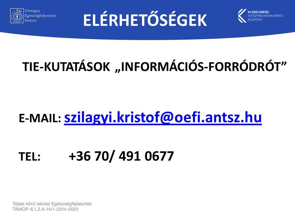 """ELÉRHETŐSÉGEK TIE-KUTATÁSOK """"INFORMÁCIÓS-FORRÓDRÓT E-MAIL: szilagyi.kristof@oefi.antsz.hu szilagyi.kristof@oefi.antsz.hu TEL: +36 70/ 491 0677"""