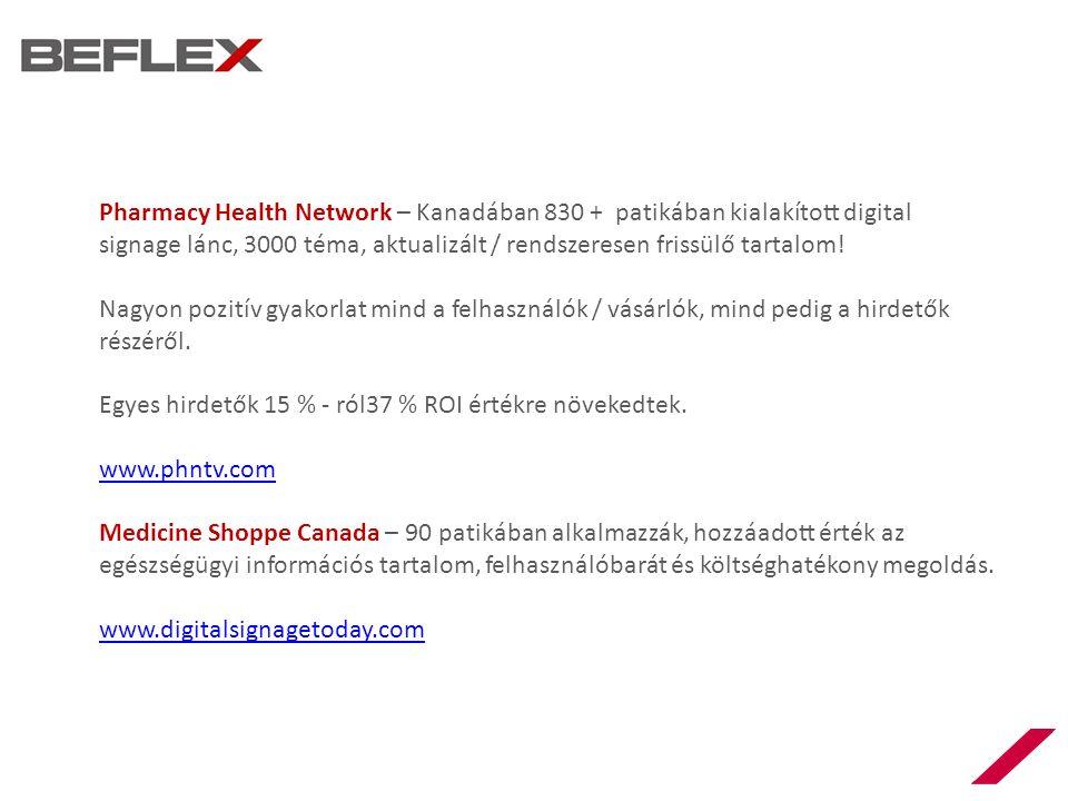 Pharmacy Health Network – Kanadában 830 + patikában kialakított digital signage lánc, 3000 téma, aktualizált / rendszeresen frissülő tartalom.