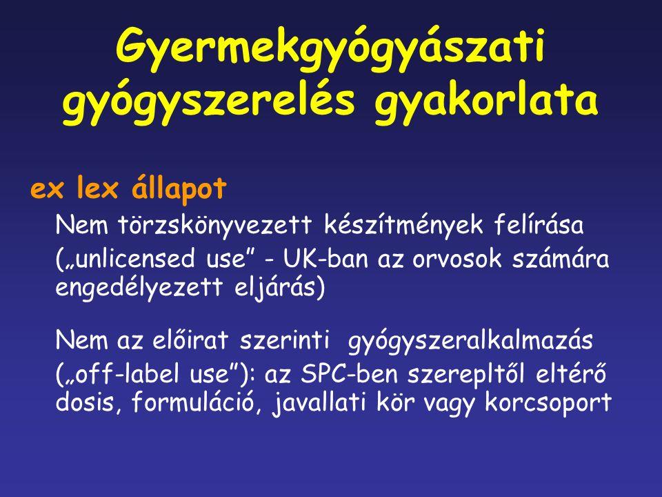 """Gyermekgyógyászati gyógyszerelés gyakorlata ex lex állapot Nem törzskönyvezett készítmények felírása (""""unlicensed use - UK-ban az orvosok számára engedélyezett eljárás) Nem az előirat szerinti gyógyszeralkalmazás (""""off-label use ): az SPC-ben szerepltől eltérő dosis, formuláció, javallati kör vagy korcsoport"""