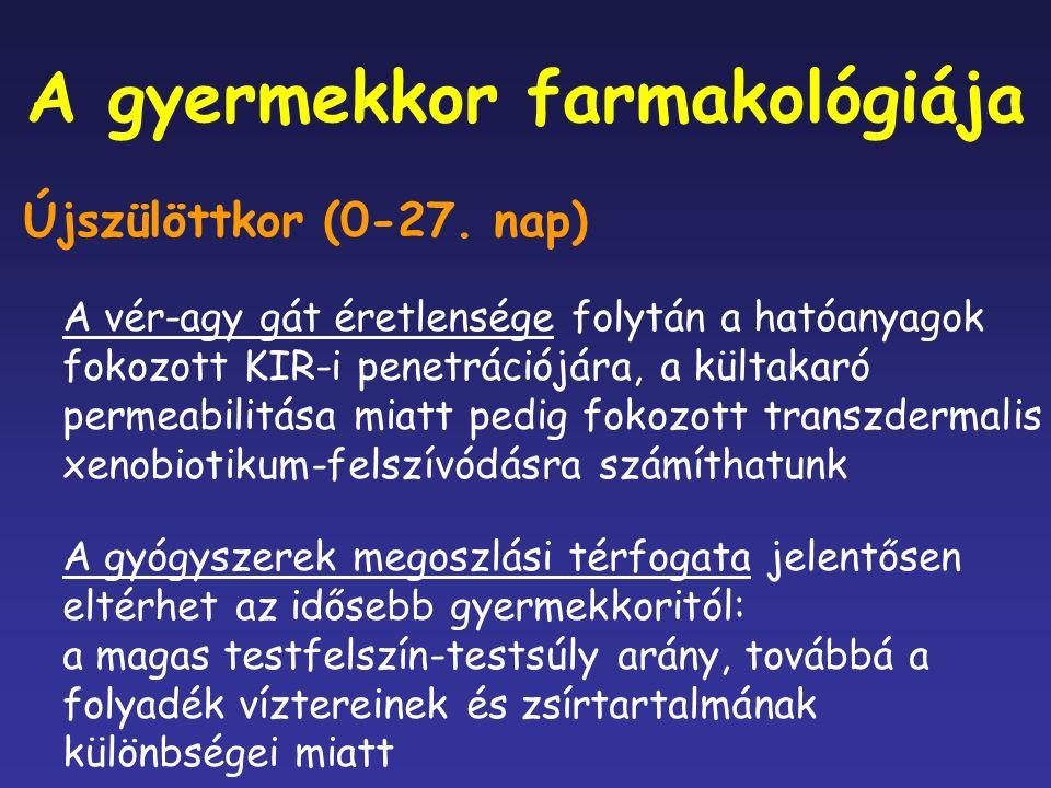 A gyermekkor farmakológiája Újszülöttkor (0-27.