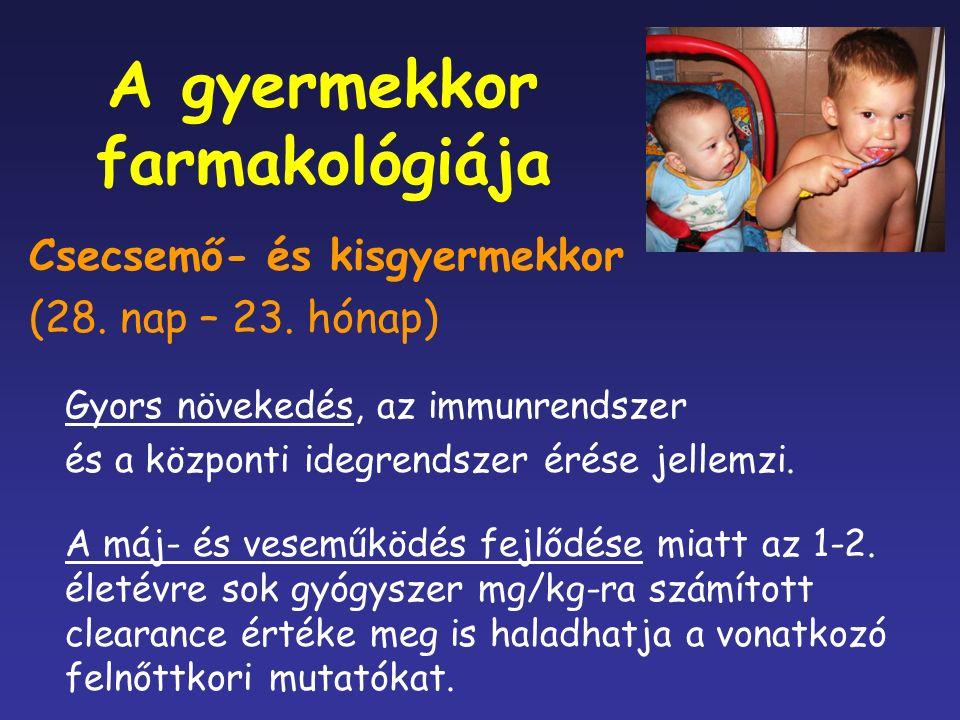 A gyermekkor farmakológiája Gyermekkor (2 – 11.év) A máj és vese méregtelenítő folyamatai érettek.