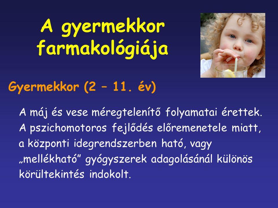 A gyermekkor farmakológiája Gyermekkor (2 – 11. év) A máj és vese méregtelenítő folyamatai érettek.