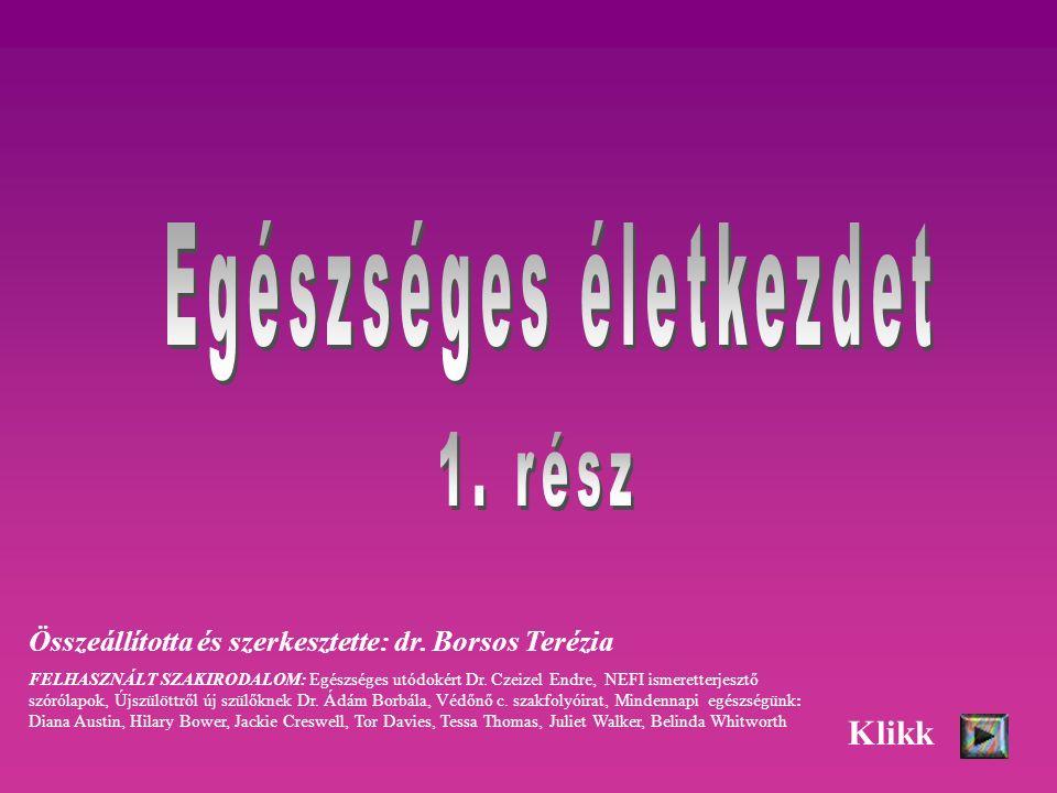 Összeállította és szerkesztette: dr. Borsos Terézia FELHASZNÁLT SZAKIRODALOM: Egészséges utódokért Dr. Czeizel Endre, NEFI ismeretterjesztő szórólapok