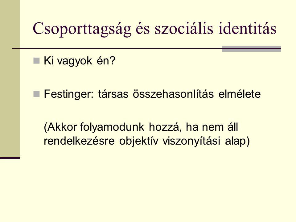 Csoporttagság és szociális identitás Ki vagyok én? Festinger: társas összehasonlítás elmélete (Akkor folyamodunk hozzá, ha nem áll rendelkezésre objek
